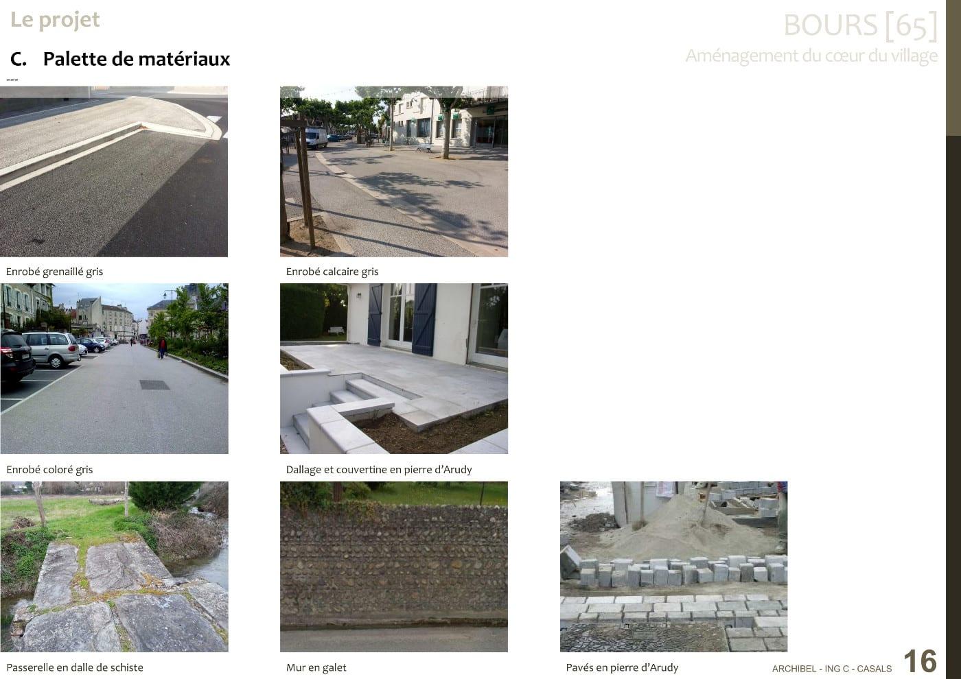 La palette de matériaux proposée