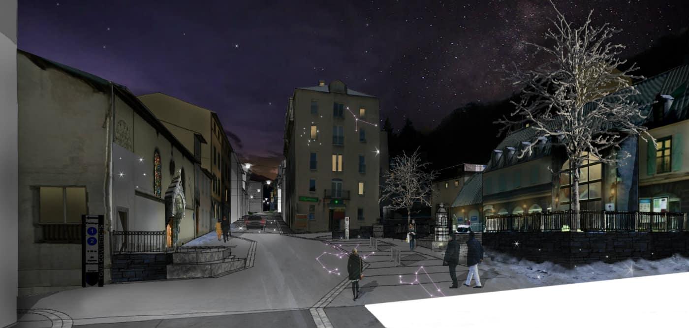 Perspective place de la mairie de nuit