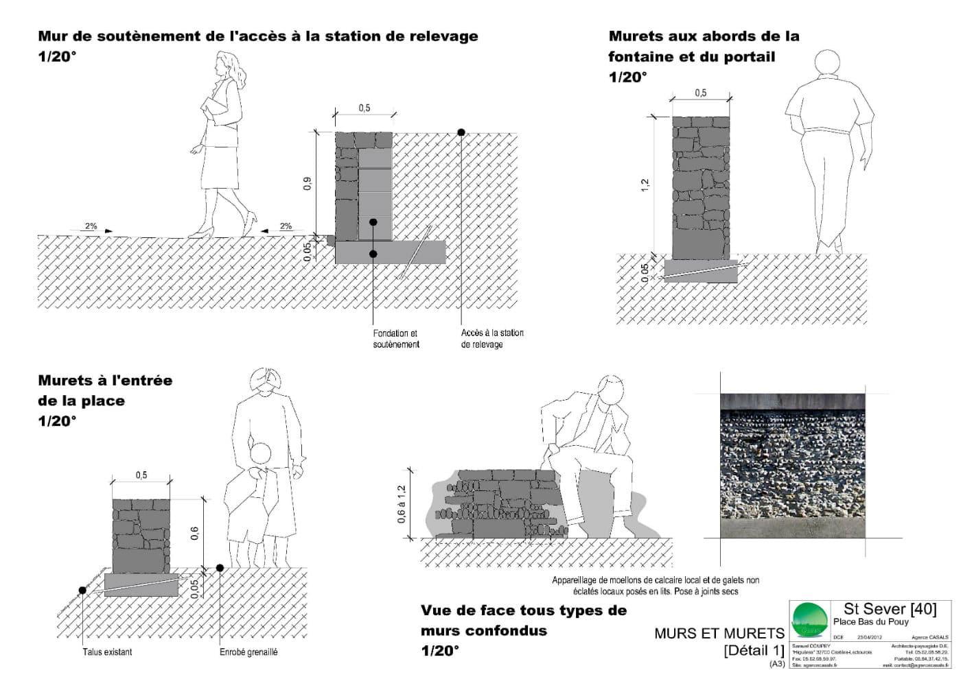 Détails techniques de murs et murets