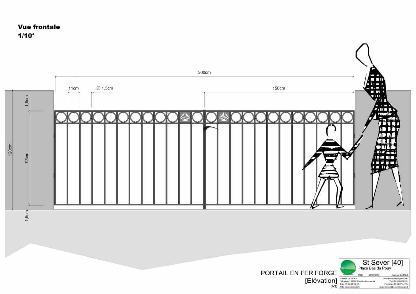Élévation du portail en fer forgé