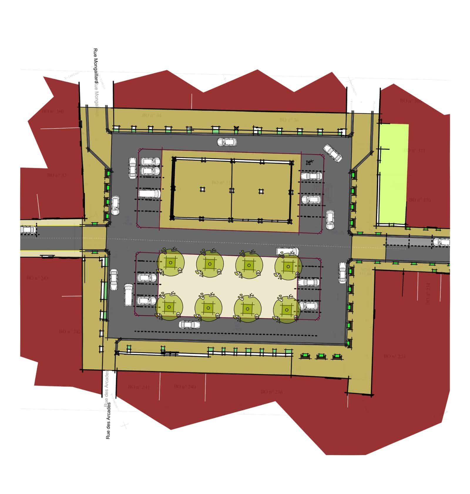 Plan masse : place du marché