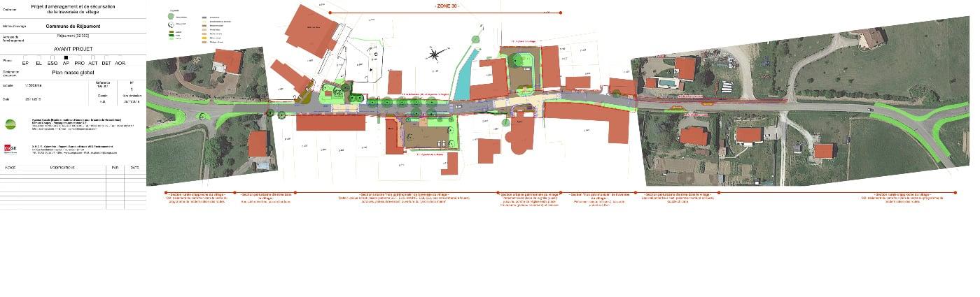 Plan masse AVP v1 de la traversée et de la place du village