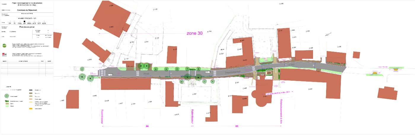 Plan masse AVP v2 de la traversée et de la place du village