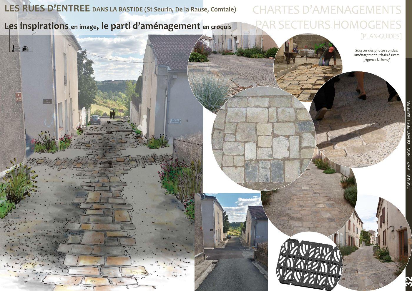 Etude préliminaire, esquisse rues d'entrée dans la bastide