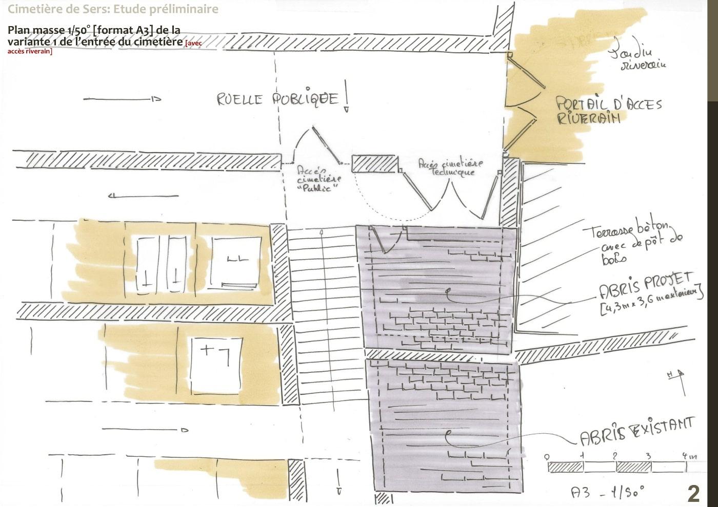 Plan d'esquisse variante 1 entrée nouveau cimetière