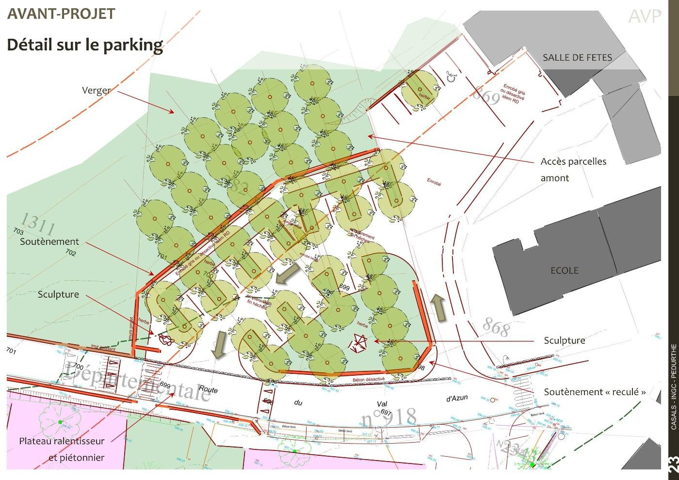 Plan masse AVP, détail du stationnement de l'école