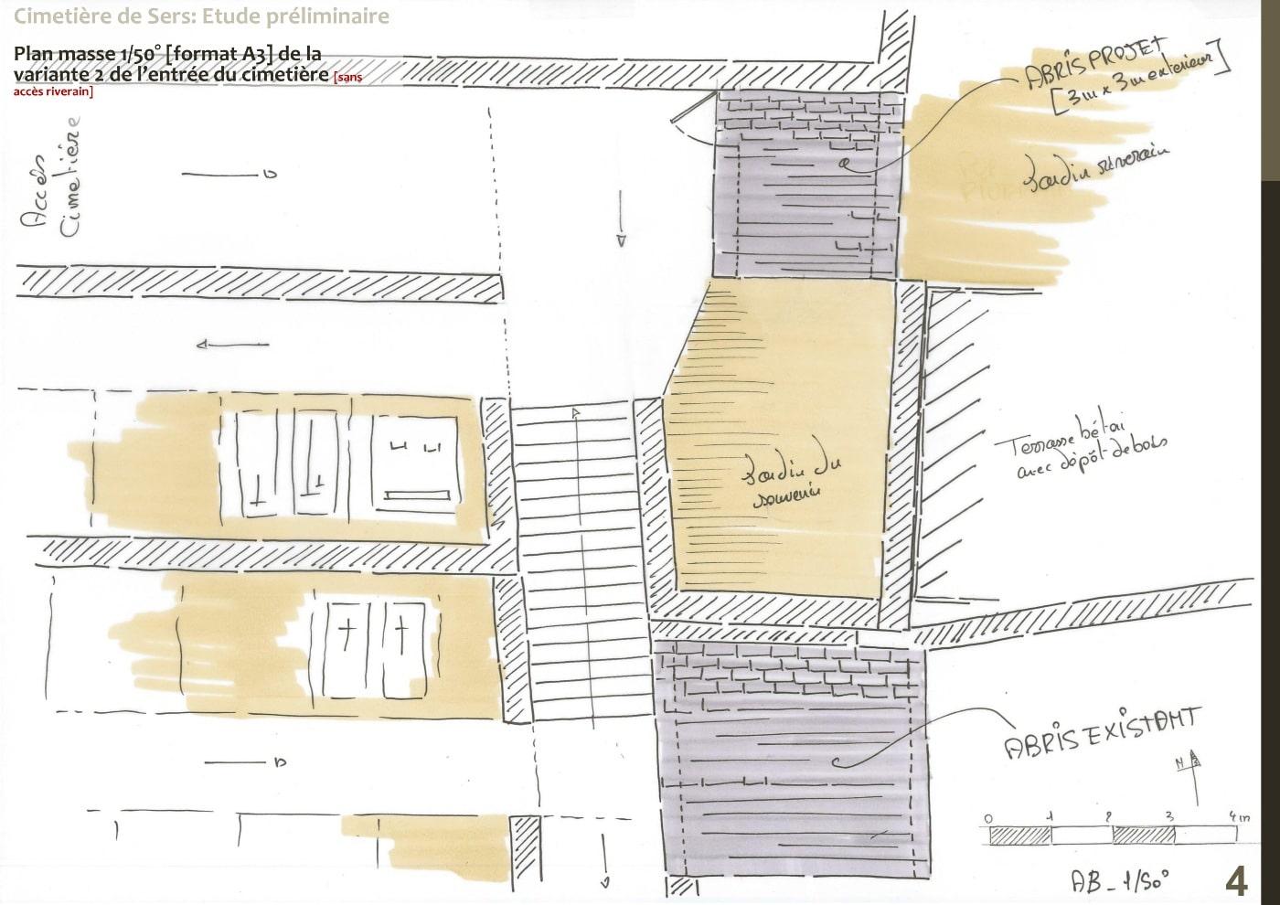 Plan d'esquisse variante 2 entrée nouveau cimetière